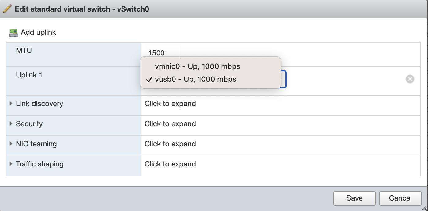 vSwitch0 の NIC を変更
